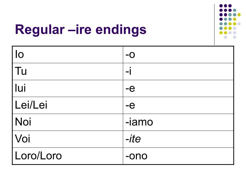 Regular –ire endings Io -o Tu -i lui -e Lei/Lei Noi -iamo Voi -ite
