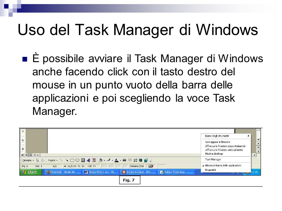 Uso del Task Manager di Windows