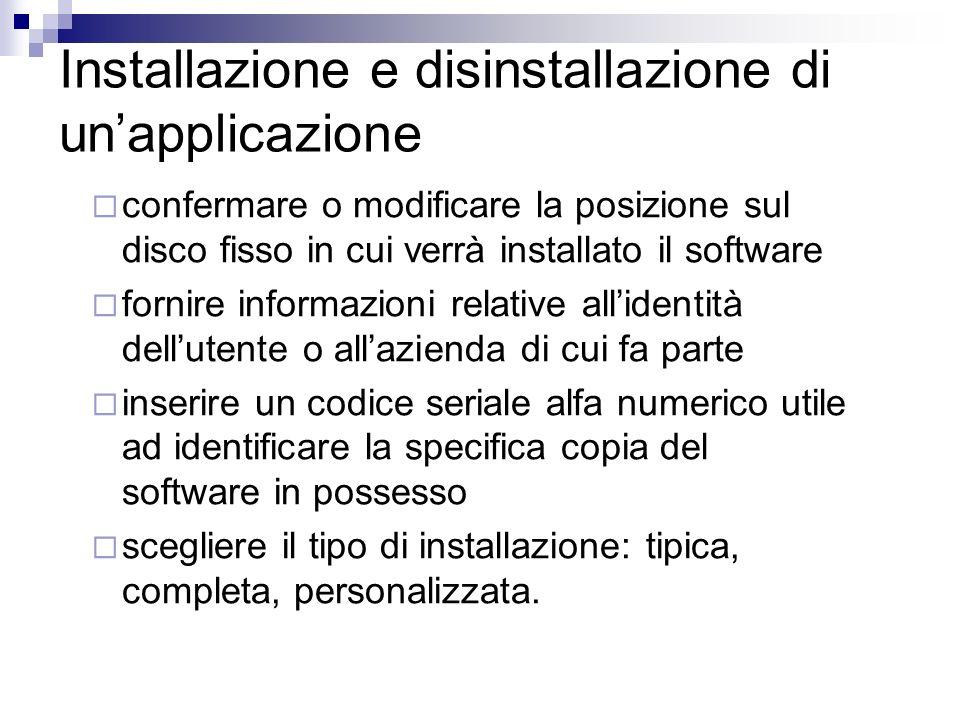 Installazione e disinstallazione di un'applicazione