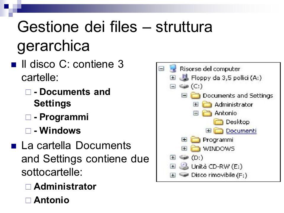 Gestione dei files – struttura gerarchica