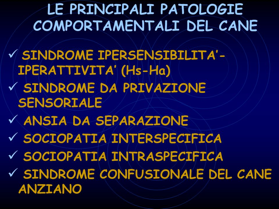 LE PRINCIPALI PATOLOGIE COMPORTAMENTALI DEL CANE