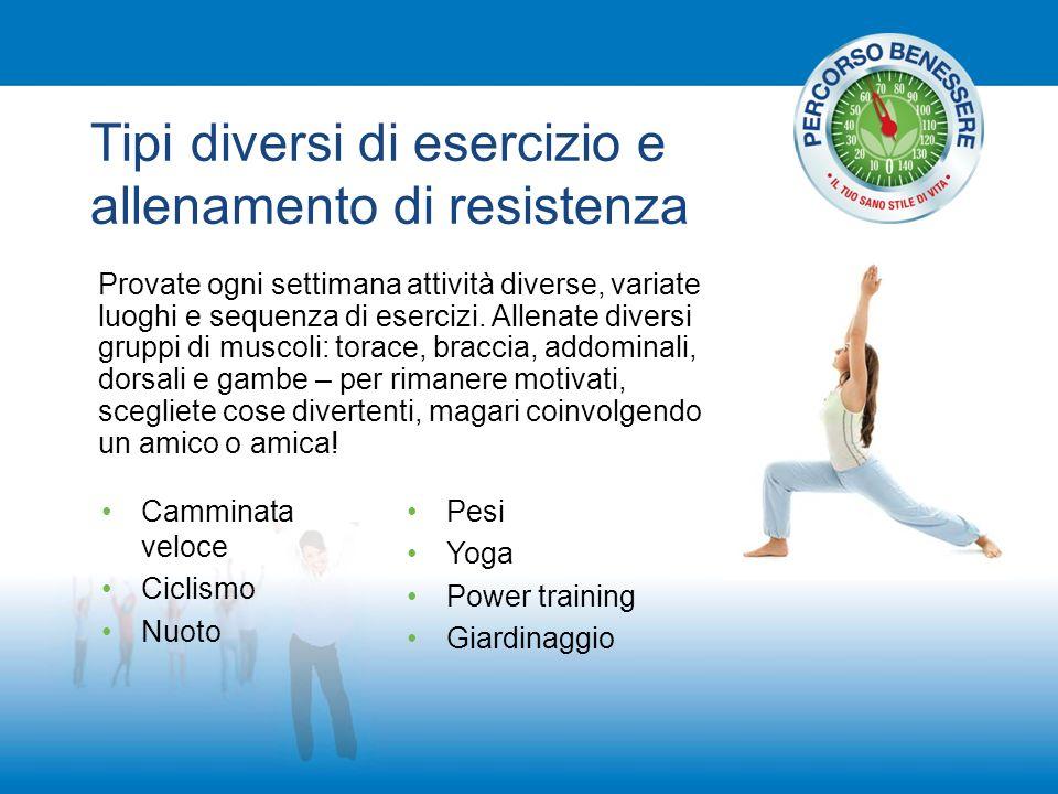 Tipi diversi di esercizio e allenamento di resistenza