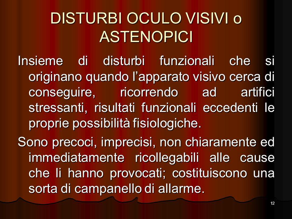 DISTURBI OCULO VISIVI o ASTENOPICI