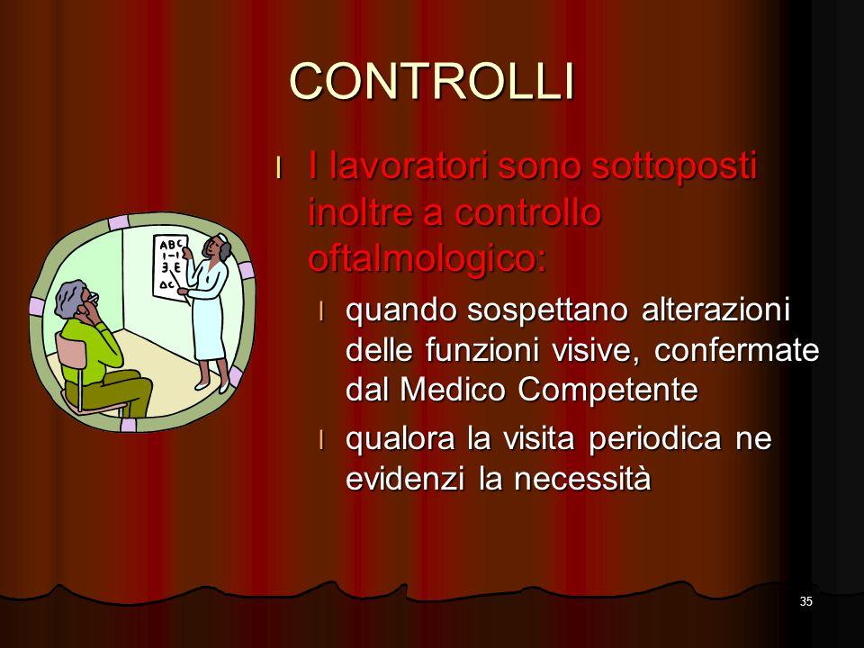 CONTROLLI I lavoratori sono sottoposti inoltre a controllo oftalmologico: