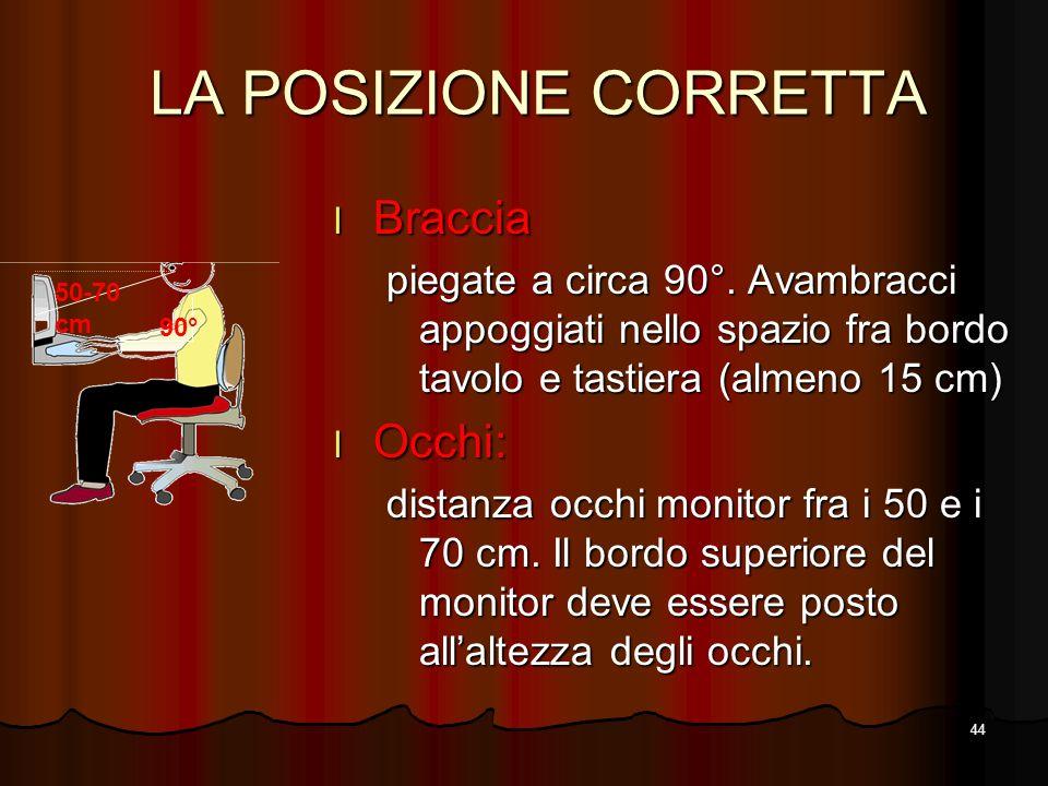 LA POSIZIONE CORRETTA Braccia Occhi: