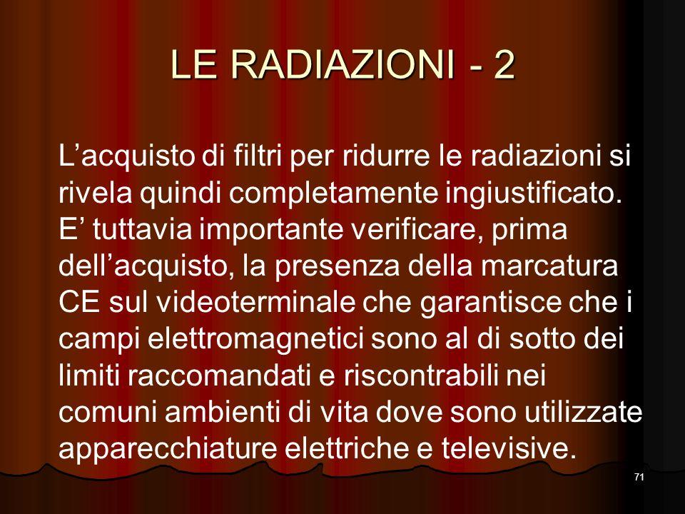 LE RADIAZIONI - 2 L'acquisto di filtri per ridurre le radiazioni si rivela quindi completamente ingiustificato.