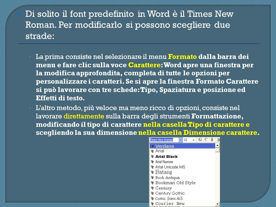 Di solito il font predefinito in Word è il Times New Roman