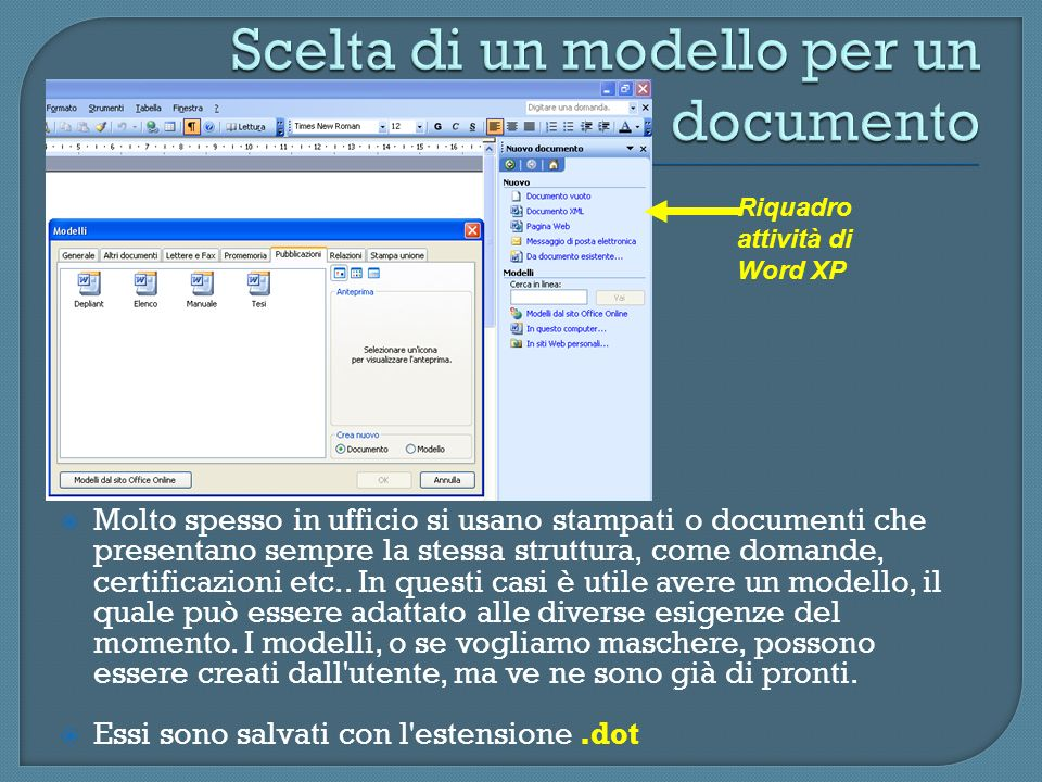 Scelta di un modello per un documento