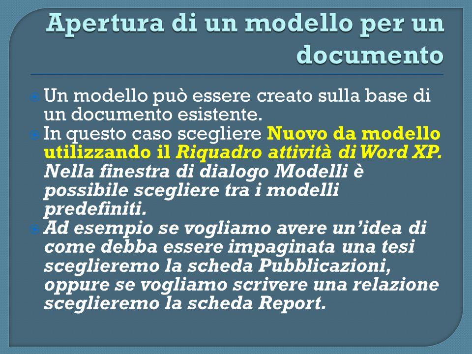 Apertura di un modello per un documento