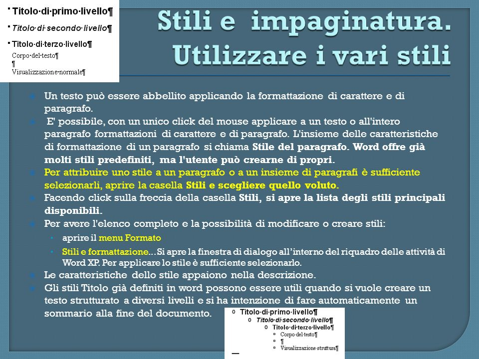 Stili e impaginatura. Utilizzare i vari stili