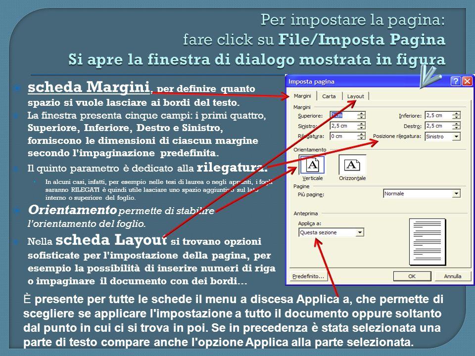 Per impostare la pagina: fare click su File/Imposta Pagina Si apre la finestra di dialogo mostrata in figura