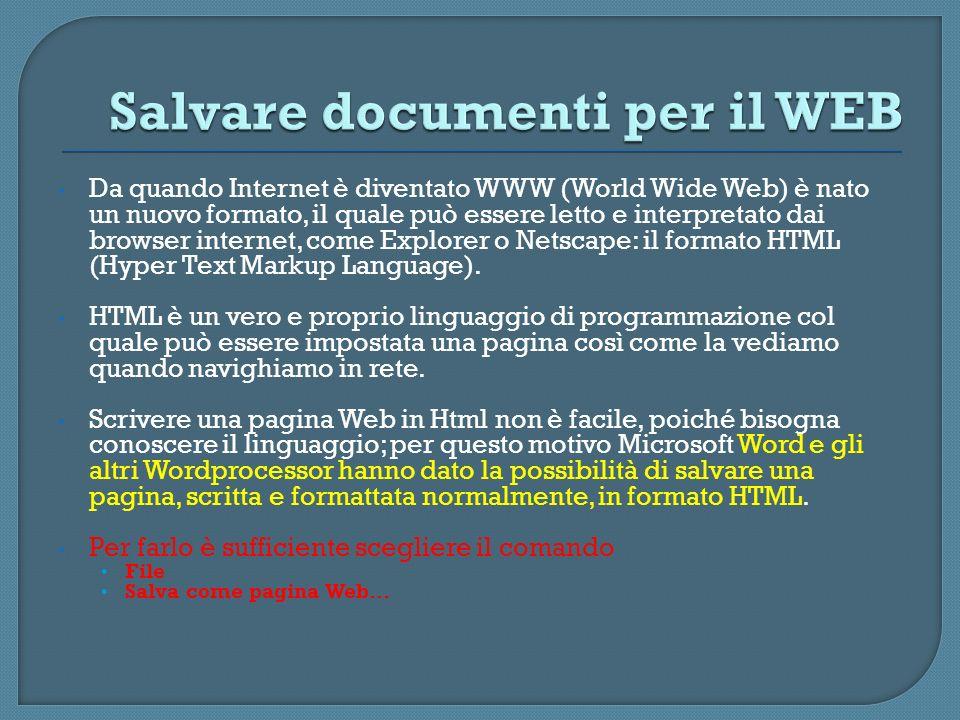 Salvare documenti per il WEB