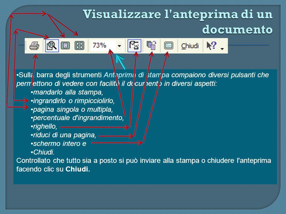 Visualizzare l anteprima di un documento