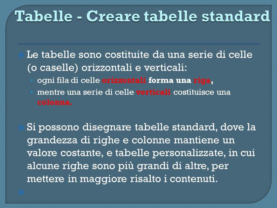 Tabelle - Creare tabelle standard