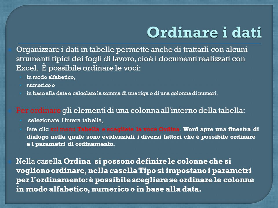 Ordinare i dati