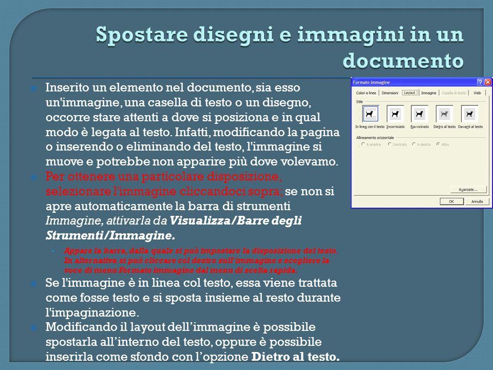 Spostare disegni e immagini in un documento