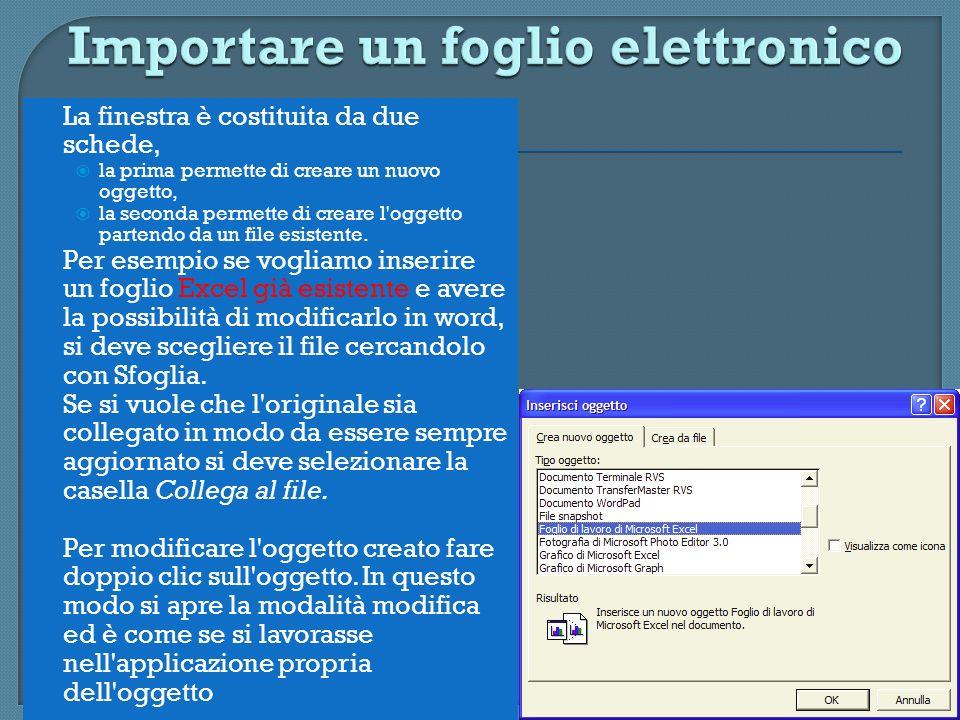 Importare un foglio elettronico