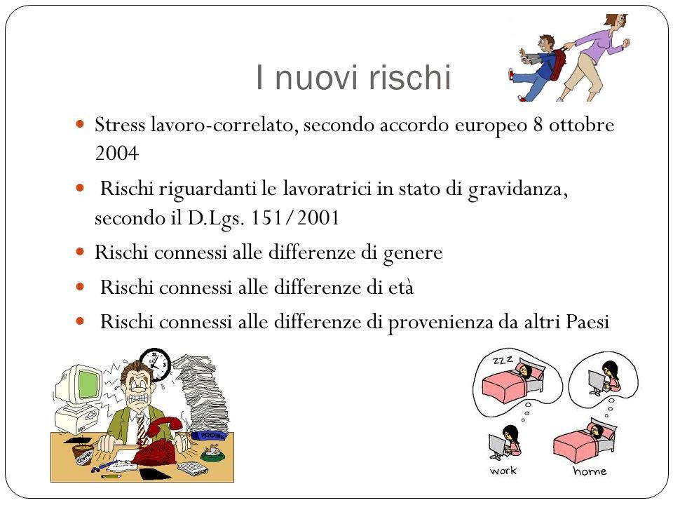 I nuovi rischi Stress lavoro-correlato, secondo accordo europeo 8 ottobre 2004.