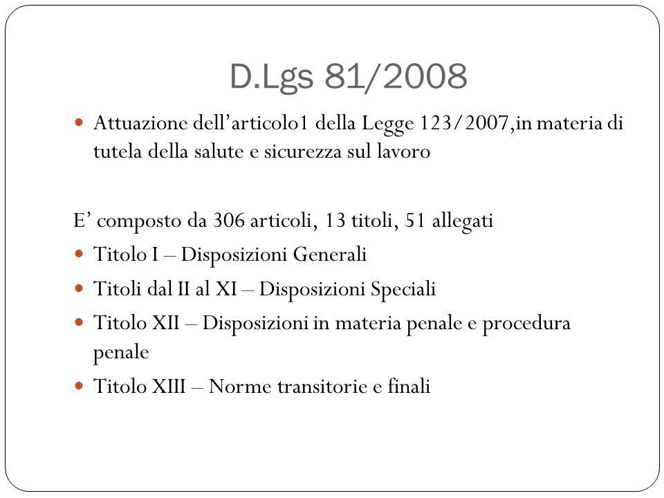 D.Lgs 81/2008 Attuazione dell'articolo1 della Legge 123/2007,in materia di tutela della salute e sicurezza sul lavoro.