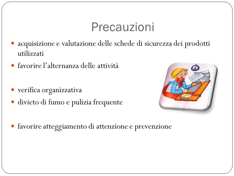 Precauzioni acquisizione e valutazione delle schede di sicurezza dei prodotti utilizzati. favorire l'alternanza delle attività.