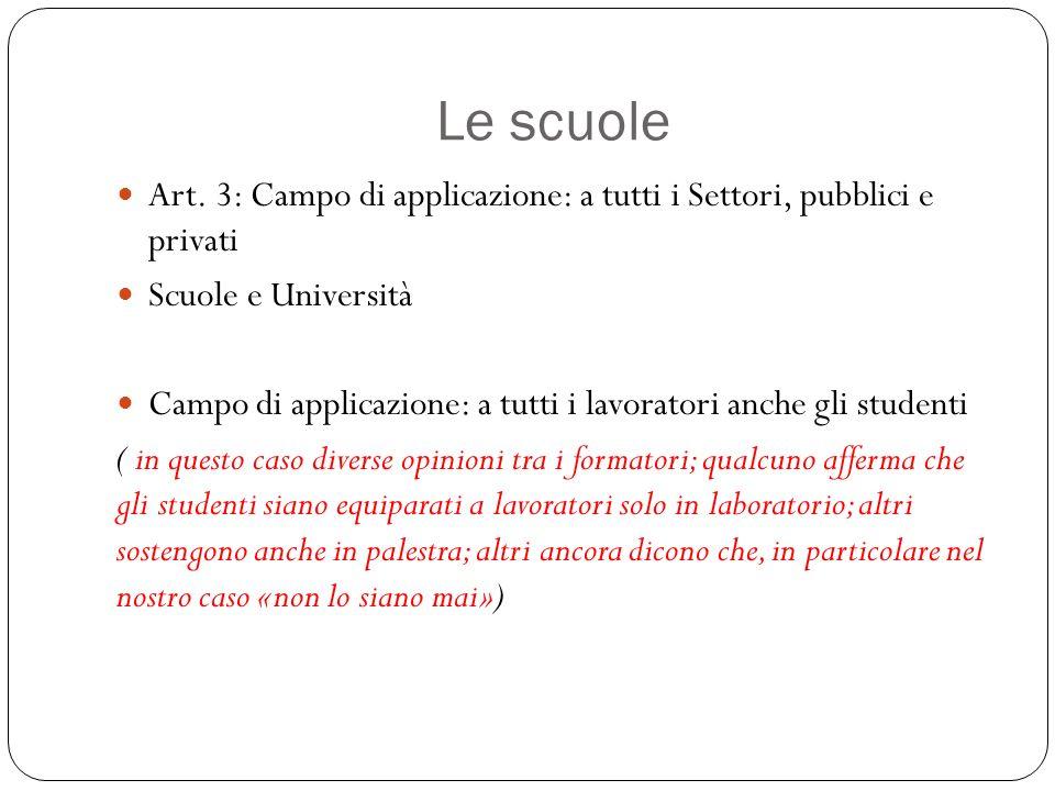 Le scuole Art. 3: Campo di applicazione: a tutti i Settori, pubblici e privati. Scuole e Università.