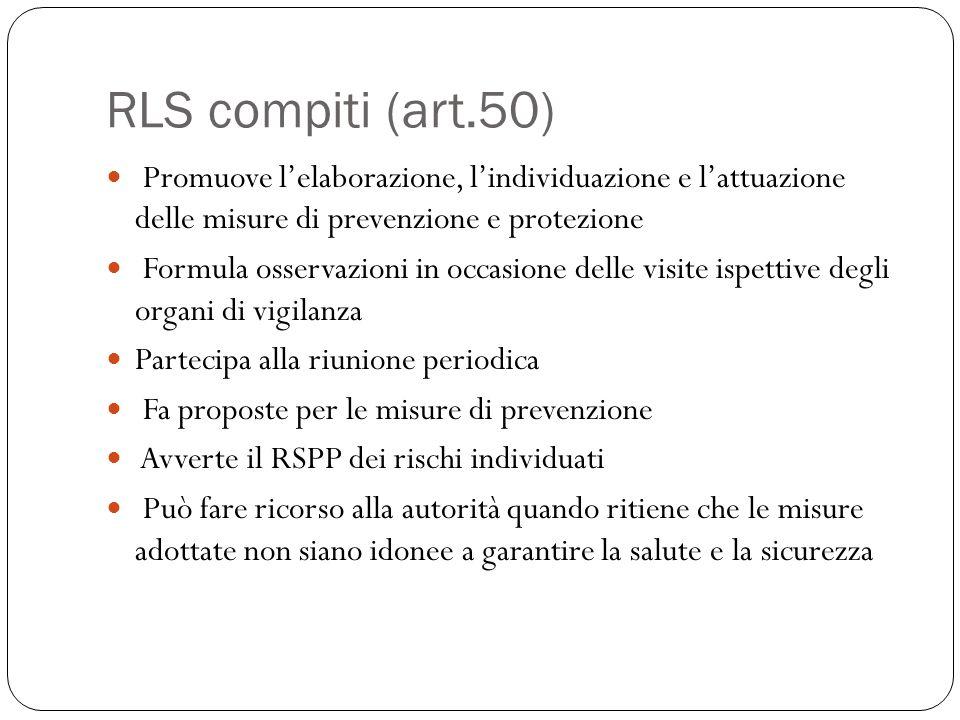 RLS compiti (art.50) Promuove l'elaborazione, l'individuazione e l'attuazione delle misure di prevenzione e protezione.