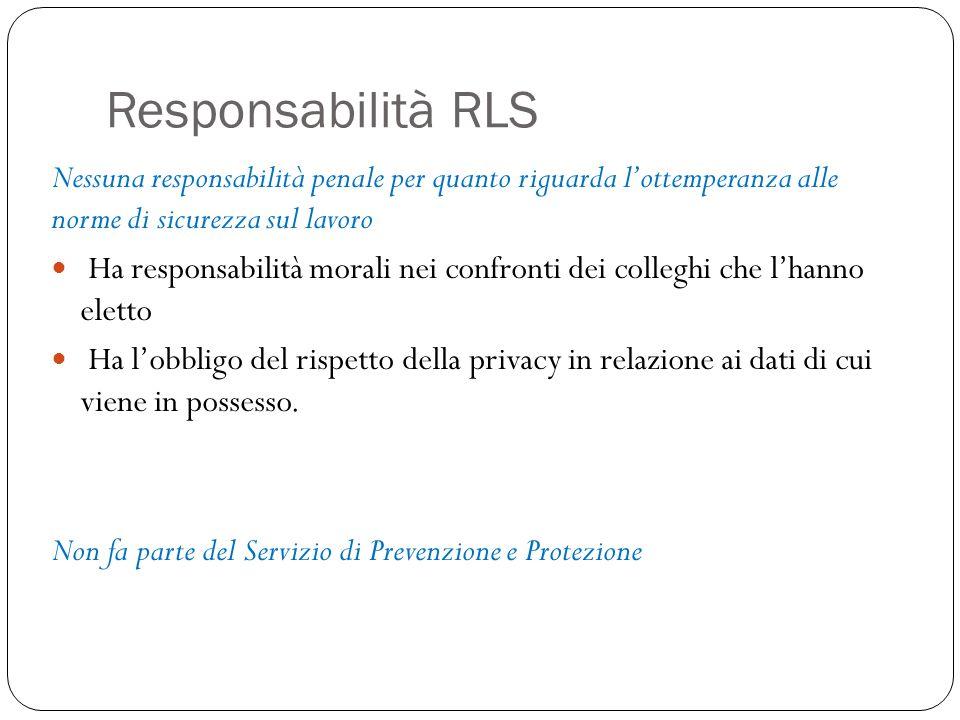 Responsabilità RLS Nessuna responsabilità penale per quanto riguarda l'ottemperanza alle norme di sicurezza sul lavoro.