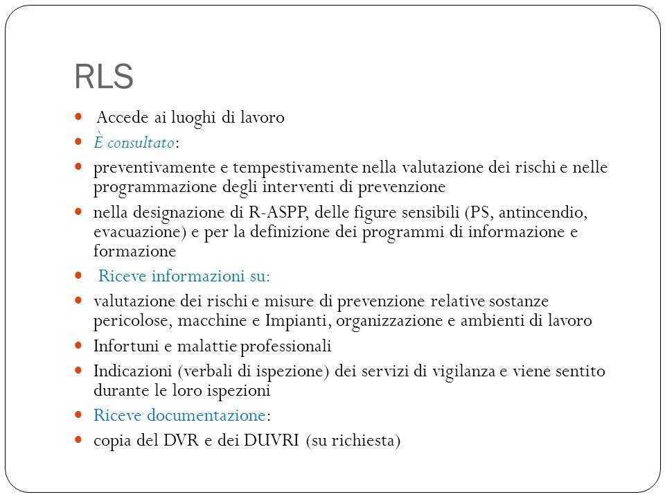 RLS Accede ai luoghi di lavoro È consultato: