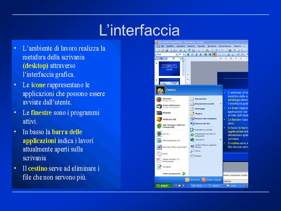 L'interfaccia Le icone più importanti che generalmente compaiono subito dopo l'installazione, sono le seguenti: