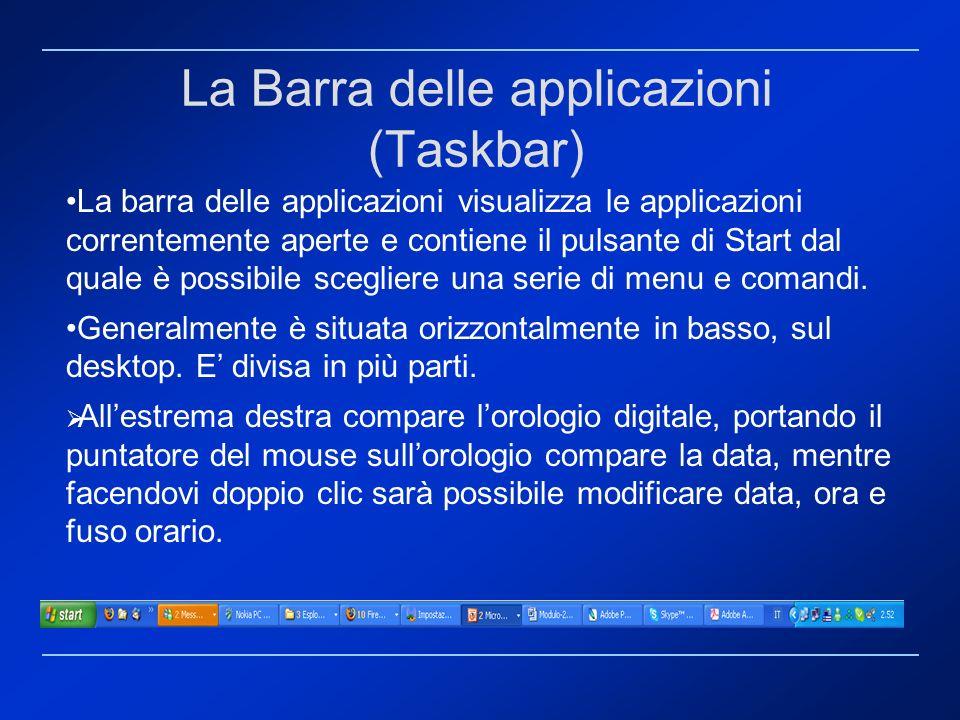 La Barra delle applicazioni (Taskbar)