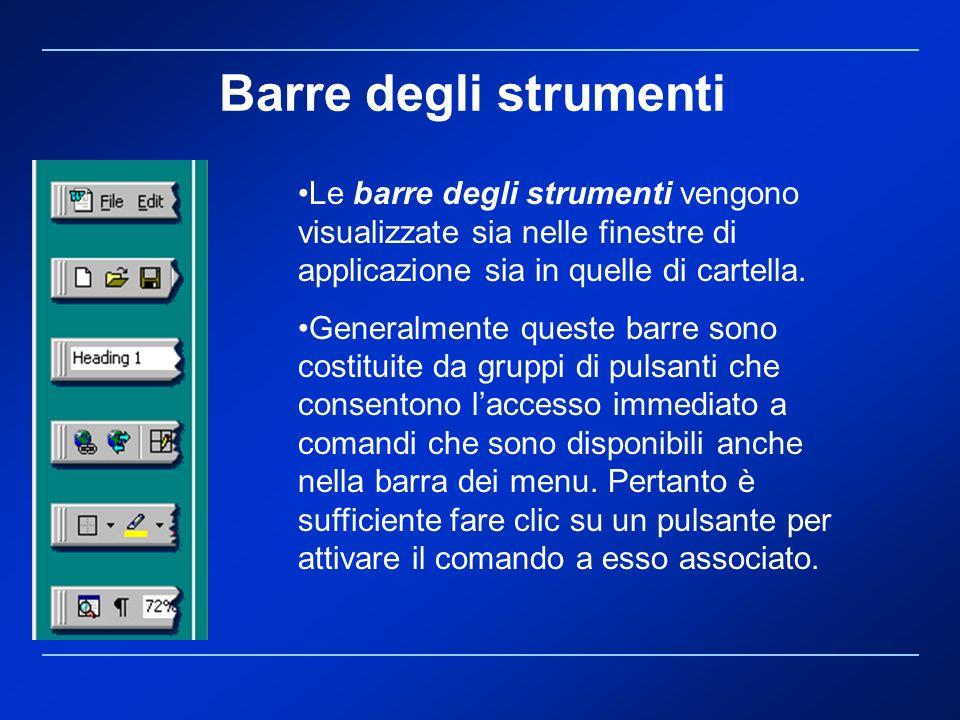 Barre degli strumenti Le barre degli strumenti vengono visualizzate sia nelle finestre di applicazione sia in quelle di cartella.