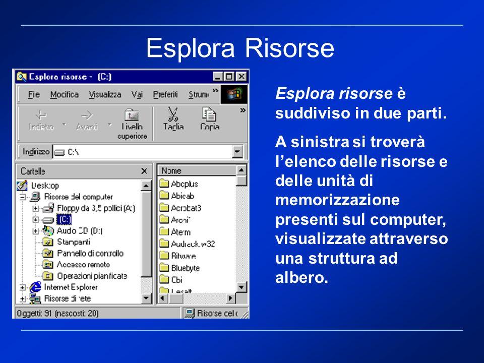 Esplora Risorse Esplora risorse è suddiviso in due parti.