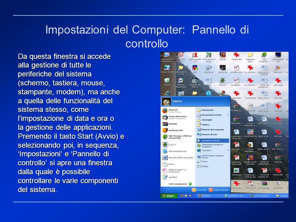 Impostazioni del Computer: Pannello di controllo