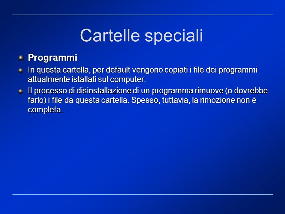 Cartelle speciali Programmi