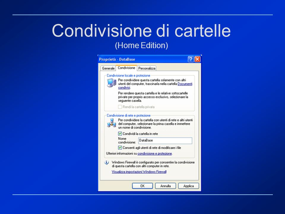 Condivisione di cartelle (Home Edition)
