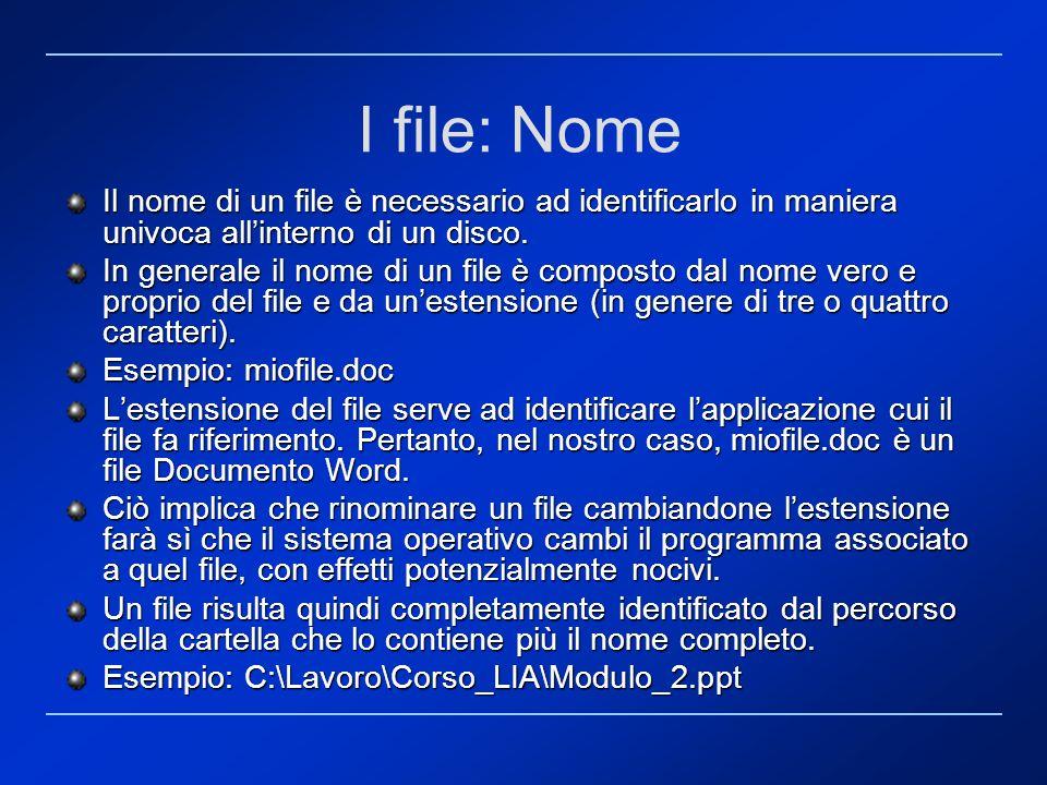 I file: Nome Il nome di un file è necessario ad identificarlo in maniera univoca all'interno di un disco.