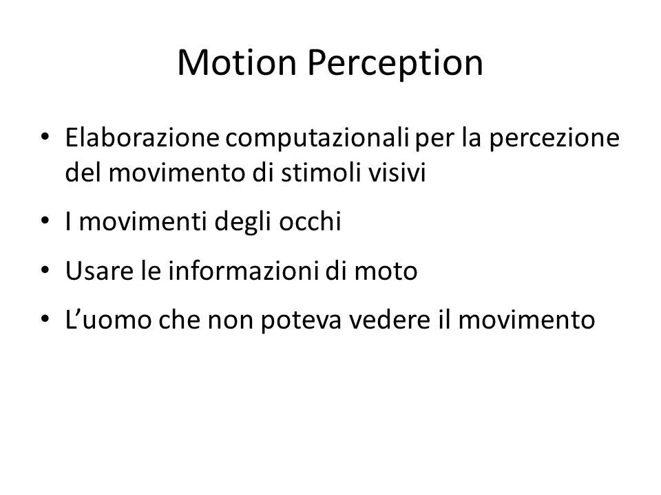 Motion Perception Elaborazione computazionali per la percezione del movimento di stimoli visivi. I movimenti degli occhi.