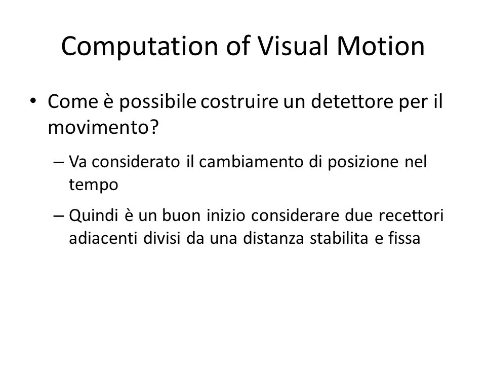 Computation of Visual Motion