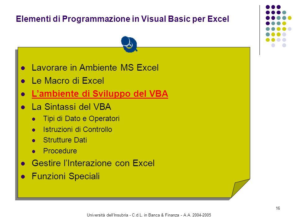 Elementi di Programmazione in Visual Basic per Excel