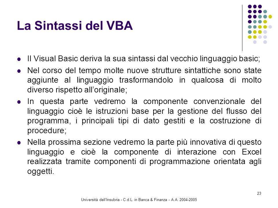 Università dell Insubria - C.d.L. in Banca & Finanza - A.A. 2004-2005