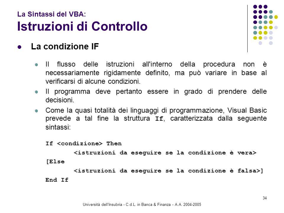 La Sintassi del VBA: Istruzioni di Controllo