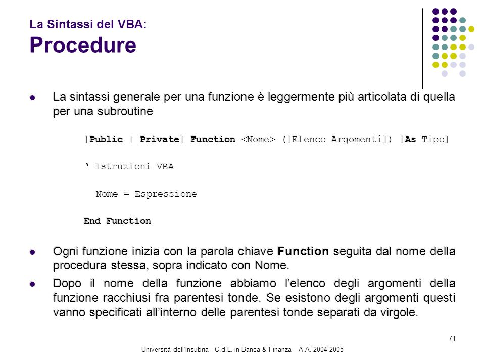 La Sintassi del VBA: Procedure