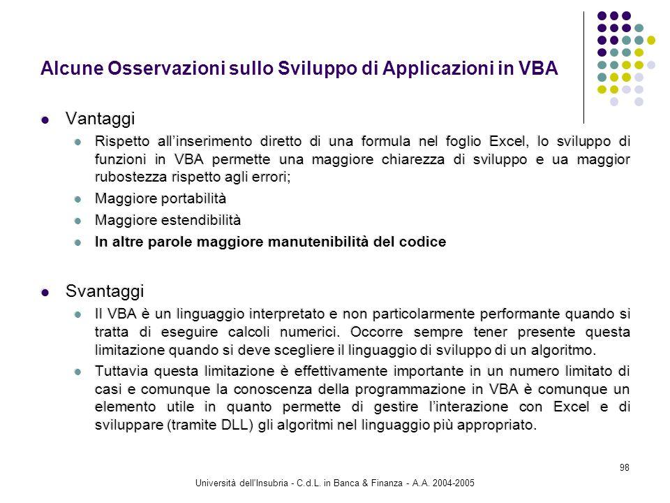 Alcune Osservazioni sullo Sviluppo di Applicazioni in VBA