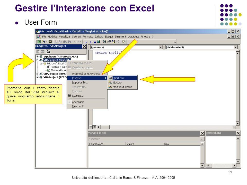 Gestire l'Interazione con Excel