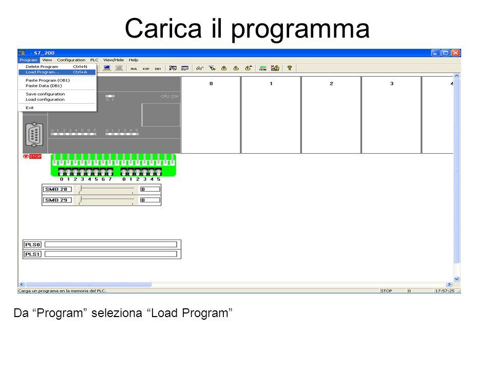 Carica il programma Da Program seleziona Load Program