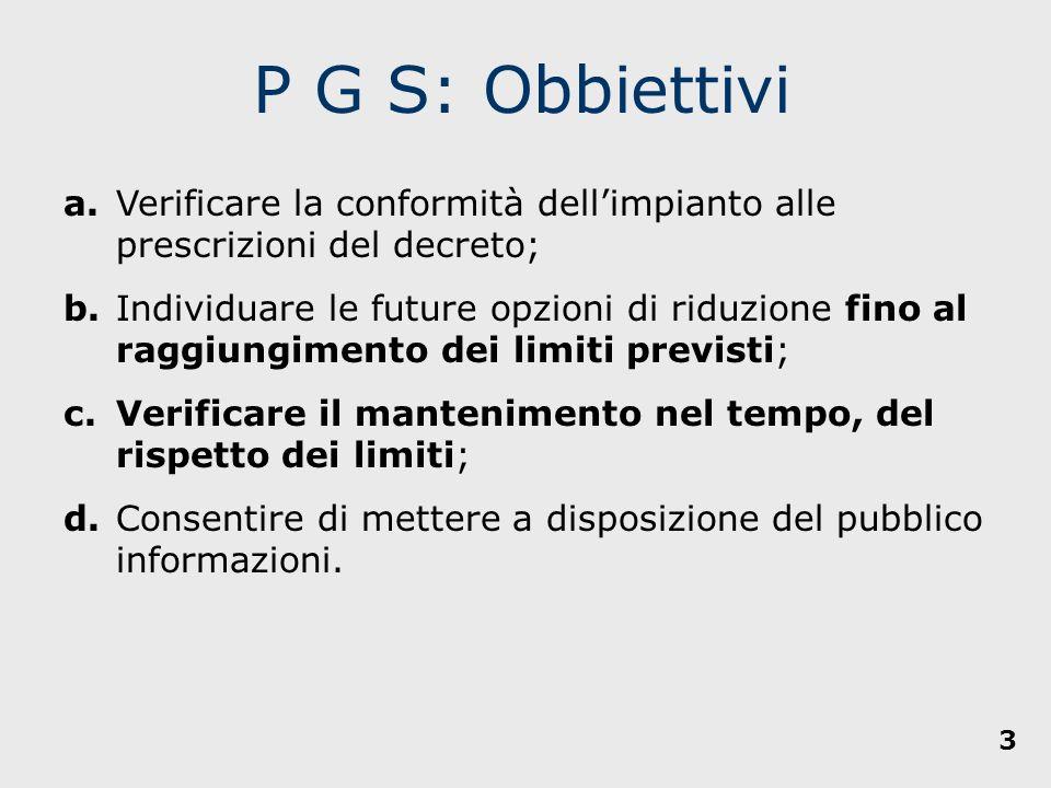 P G S: Obbiettivi a. Verificare la conformità dell'impianto alle prescrizioni del decreto;