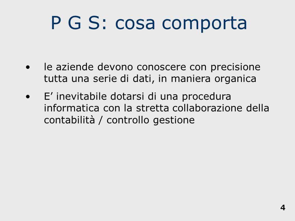 P G S: cosa comporta le aziende devono conoscere con precisione tutta una serie di dati, in maniera organica.