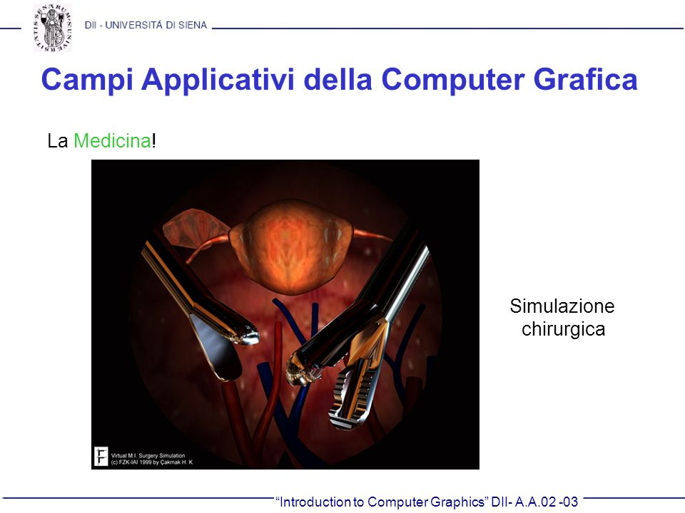 Campi Applicativi della Computer Grafica