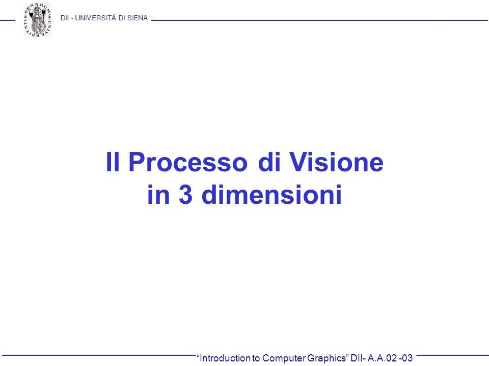 Il Processo di Visione in 3 dimensioni