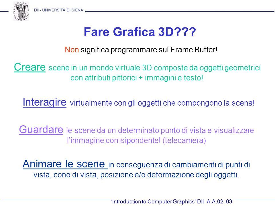 Fare Grafica 3D Non significa programmare sul Frame Buffer! Creare scene in un mondo virtuale 3D composte da oggetti geometrici.